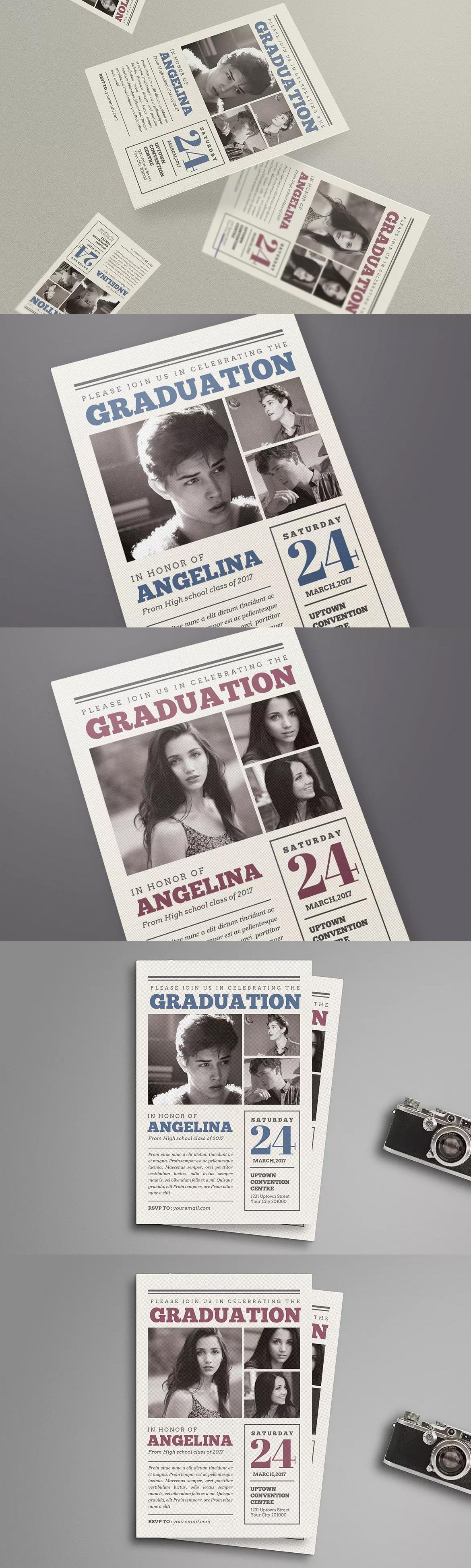 Newspaper Style Graduation Invitation Template PSD | Invitation Card ...