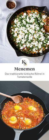 Türkisches Rührei in Tomatensoße | Rezept | Kitchen Stories