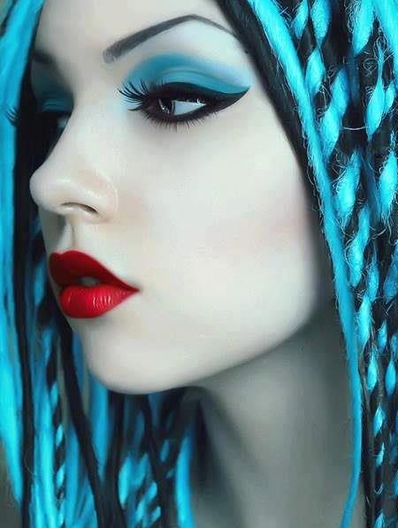 Teal, blue and black eye #makeup look with red lipstick ...