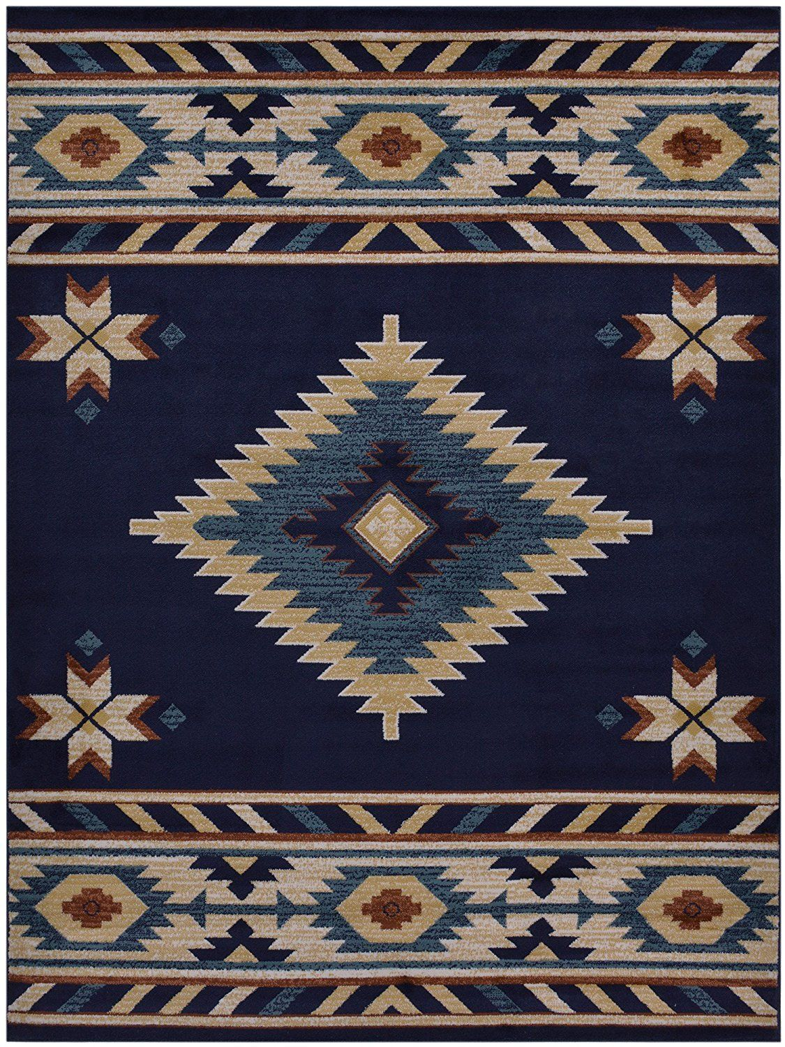 Nevita Collection Southwestern Native American Design Area Rug Rugs Geometric Navy Blue 8 X 10 See This Great Image Is An Affiliate Link