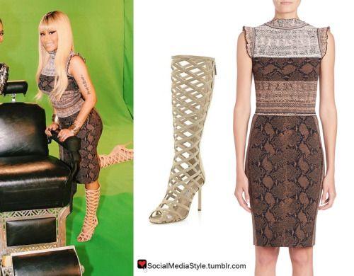 Buy Nicki Minaj's Snakeskin Print Top and Skirt and Knee-High Gladiator Sandals, here!