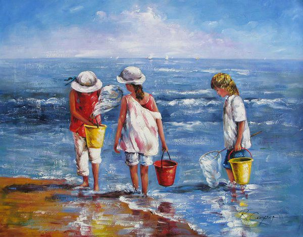 Ocean beach songs for kids familiar melodies tune 39 take me out to the ball game 39 take - Kinder schilderij ...