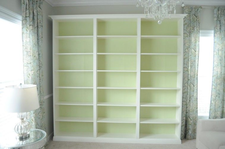 Elegant White Wooden Book Shelves Which Beautify With Inside Lime Green Colored Full Wall Bookshelves Plus Bookshelf Cabinet Base