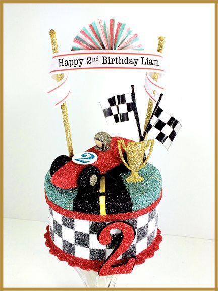 Vintage Race Car Birthday Cake Topper Centerpiece Keepsake Box