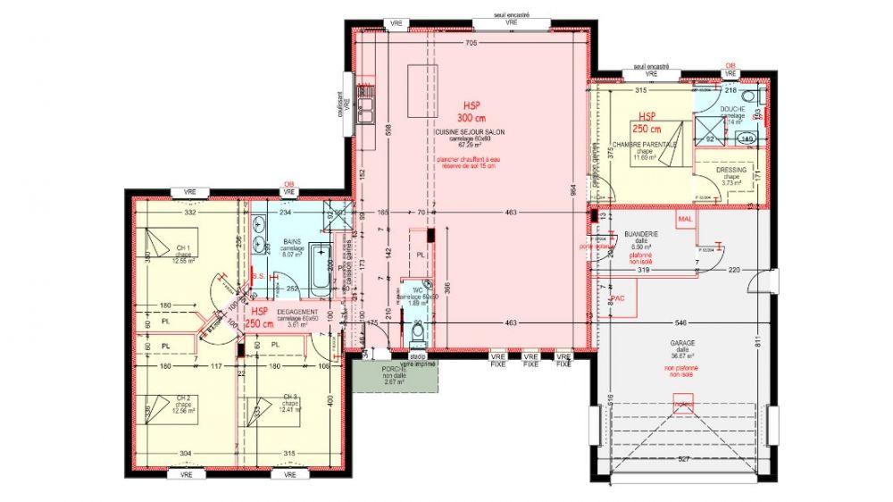 Maisons Plain Pied 4 Chambres De 138 M Construite Par Demeures Familiales Maison Plain Pied Plan Maison Plain Pied Plan Maison 4 Chambres