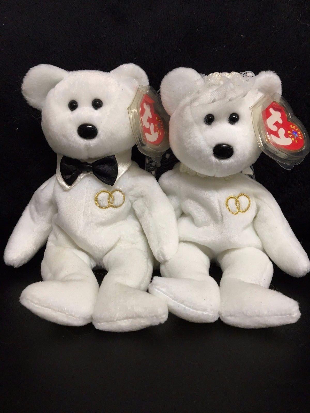 LOT of 2 TY Beanie Babies MR.   MRS. Wedding Bears Retired   Brand NEW  e6e5ec4cdc3