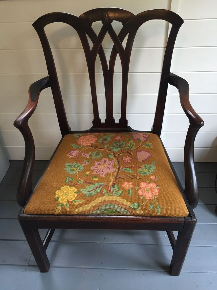 Antique Georgian Mahogony Elbow Chair With Tapestry Seat Cushion | eBay - Antique Georgian Mahogony Elbow Chair With Tapestry Seat Cushion