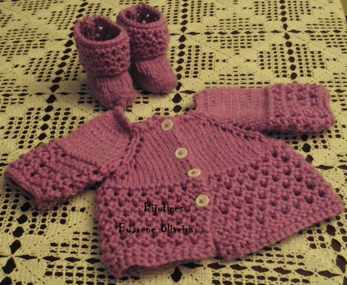 Casaco de bebé em tricot