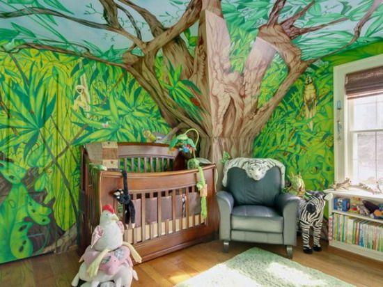 Jungle Cartoon Murals In Nursery Kids Bedroom
