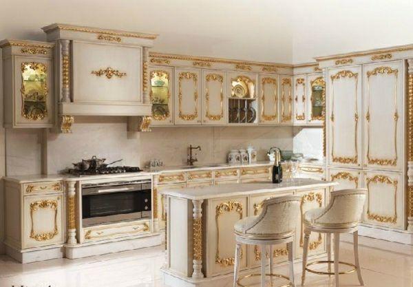 Vergoldete Ornamente Luxus Küchenschränke Angelo Cappellini