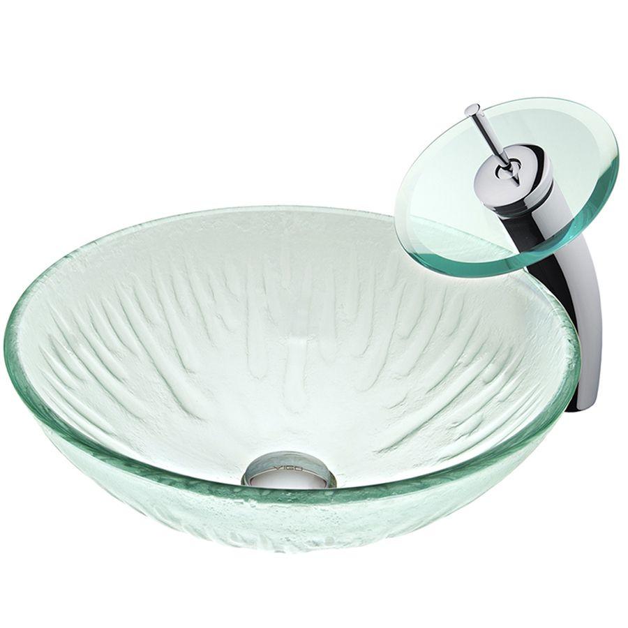 Shop Vigo Vessel Sink Faucet Set Icicles Glass Vessel Round Bathroom Sink With Faucet Drain Includ Vessel Sink Faucet Glass Vessel Sinks Round Bathroom Sink Vessel sink and faucet sets