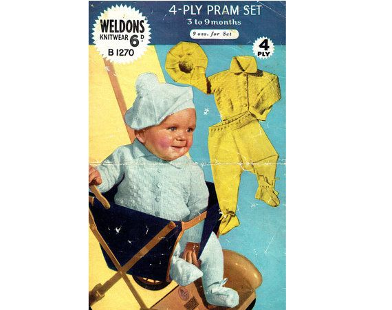 dbbf82566 Genuine Vintage 1950s Weldons Baby Bonnie Pram Set Knitting Pattern ...