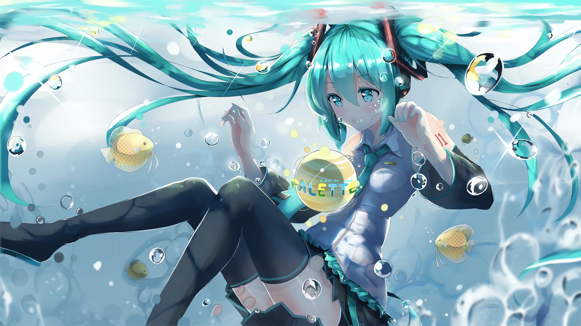 Anime 2039x1147 Hatsune Miku Vocaloid Underwater Fish Fondo De Pantalla De Anime Imagenes De Hatsune Miku Hatsune Miku