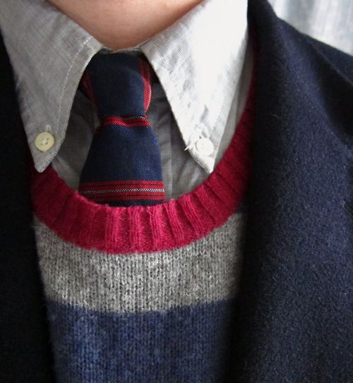 Nice mix. sweater; tie; OCBD; red, blue