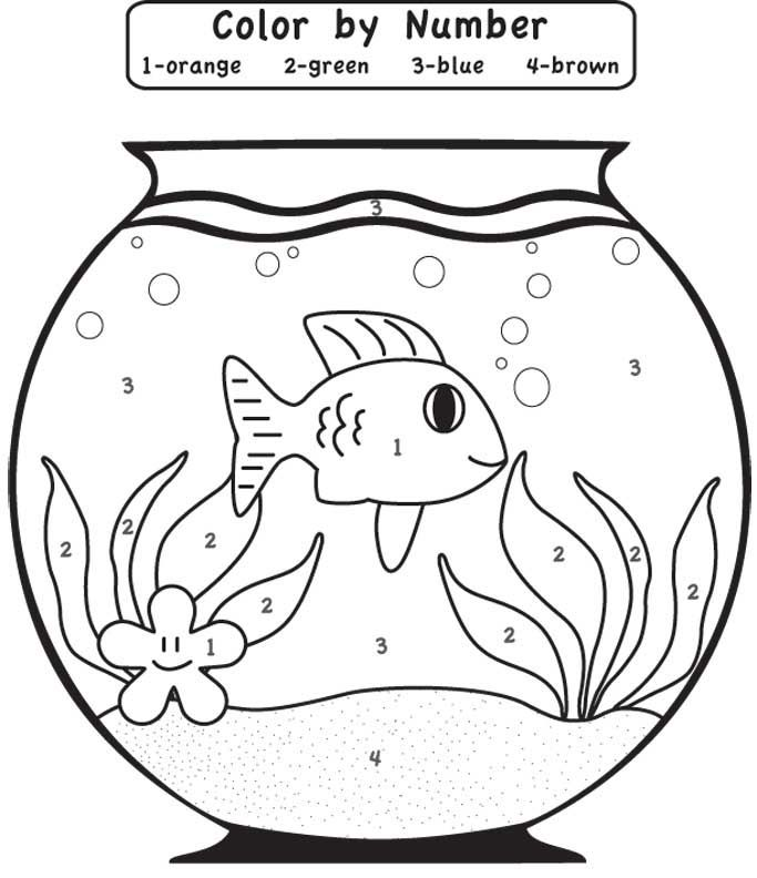 play game fishbowl color by number coloring Page for kids ...