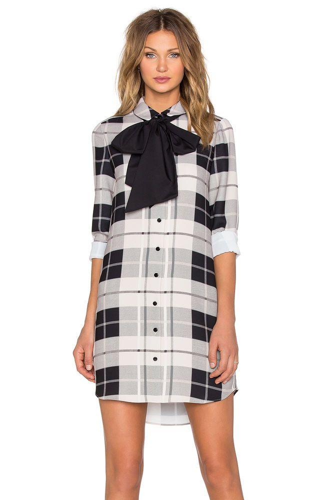 5af7446dde8 NWT Kate Spade Woodland Plaid GRIFFIN Shirt Dress w Bow – Black ...