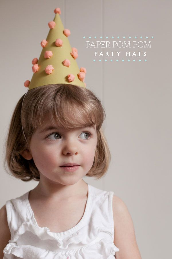 ad37fd0226f1e Paper Pom Pom Party Hats DIY