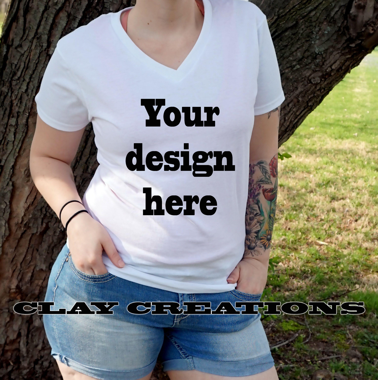 White V Neck T Shirt Mock Up Digital File Template Female Etsy Shirt Mockup Tshirt Mockup T Shirts For Women
