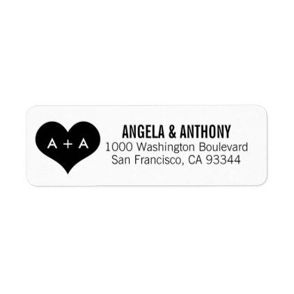 Elegant White Black Heart Wedding Return Address Label - #wedding - address label