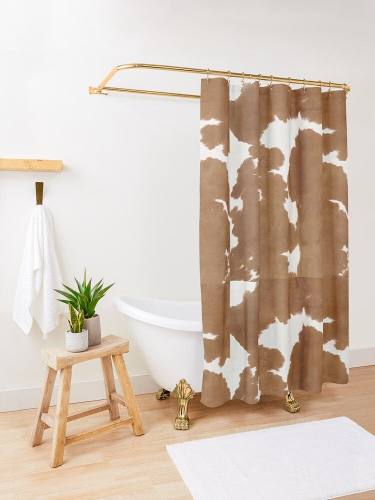 Cowhide Tan And White Texture Shower Curtain By Koovox White