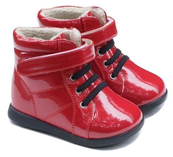 These gorgeous patent red toddller boots featuring faux fur linings for warmth and comfort and flexible rubber soles for traction and ease of movement.