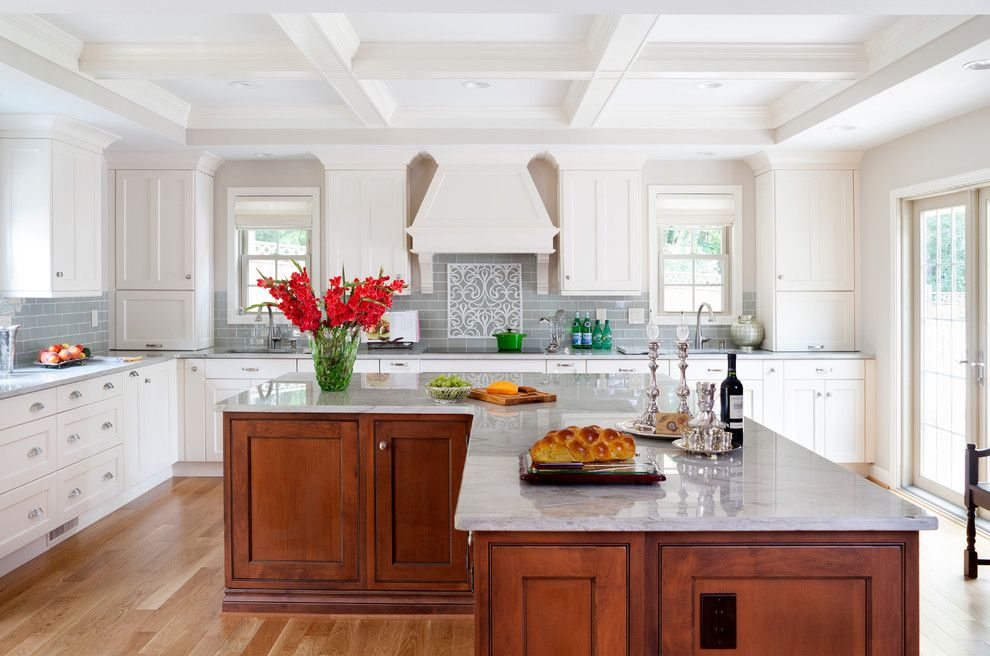 L Shaped Kitchen Island Kitchen Traditional With 2 Sinks Coffered Beam