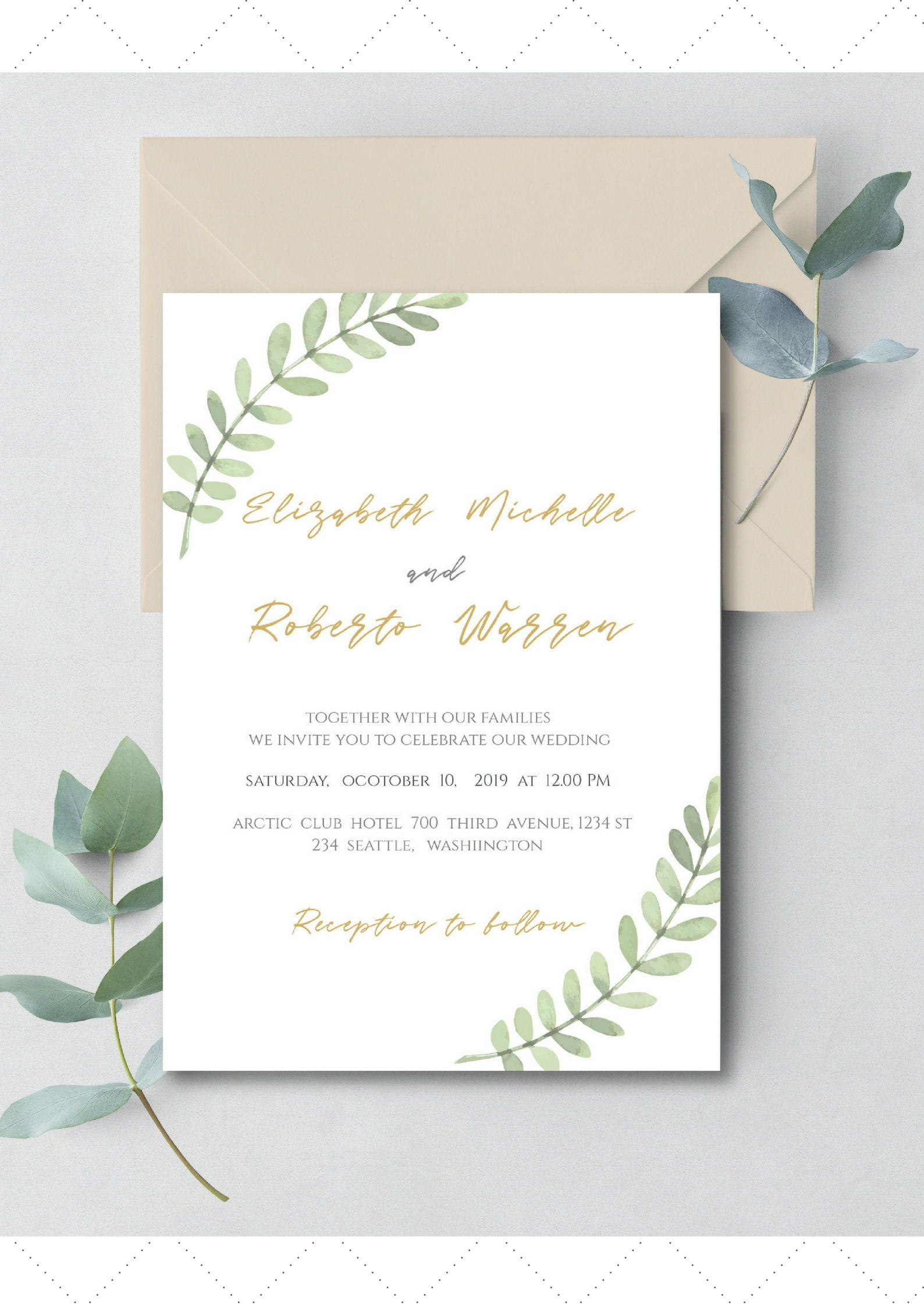Green Watercolour Wedding Invitation Minimal Wedding Etsy Original Wedding Invitations Minimal Wedding Invitation Modern Wedding Invitation Wording