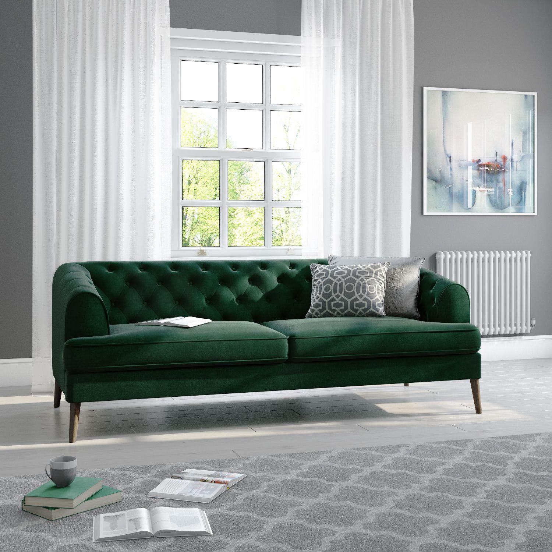 Inez Velvet Chesterfield Sofa in Dark Green, Contemporary Design ...
