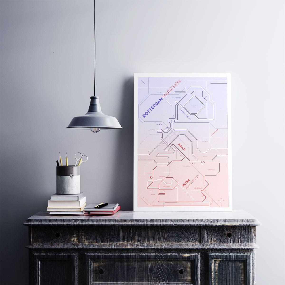 Moderne print van de marathon van rotterdam personaliseer de print met jouw naam en finishtijd