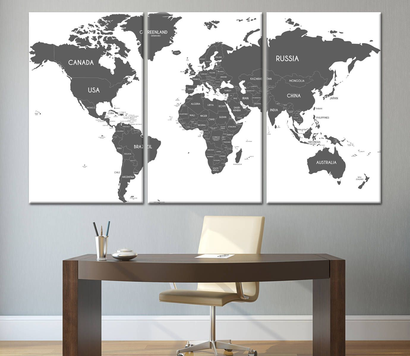 Large grey and white world map wall art with countries names canvas large grey and white world map wall art with countries names canvas print large home or office decor political world map canvas print set gumiabroncs Gallery