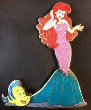 6e03c7c131ba9 Disney Pin Art Of Ariel Flounder Fantasy Jumbo Le 75 Little Mermaid ...