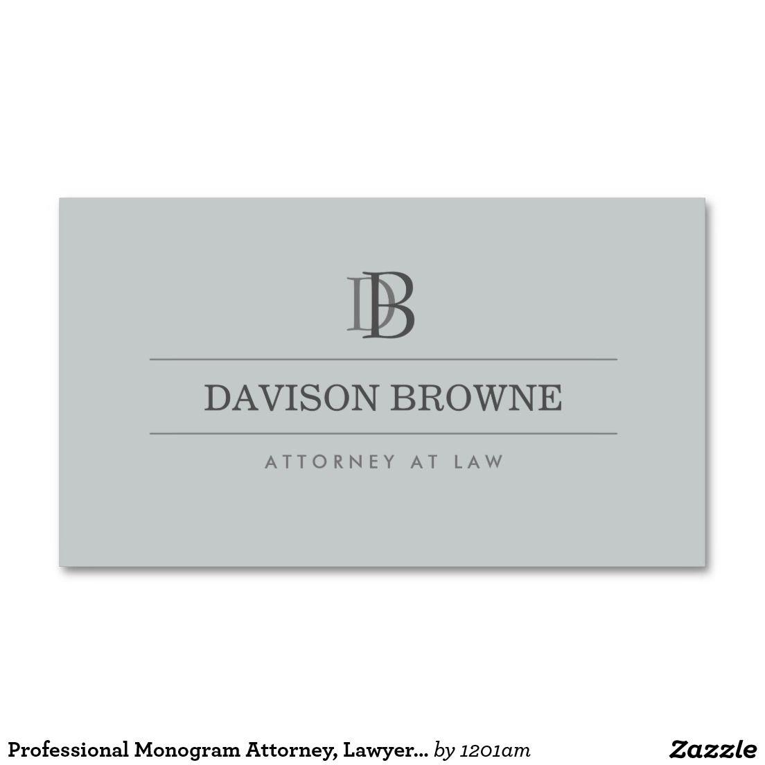 Professional Monogram Attorney, Lawyer Slate Business Card ...