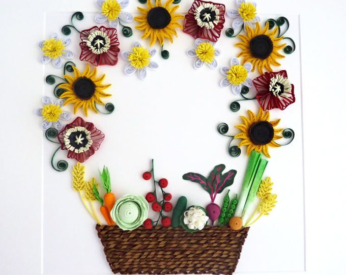 Quilled paper artquilled basket with flowersquilled vegetables beautiful quilled peacock made out of paper strips mightylinksfo