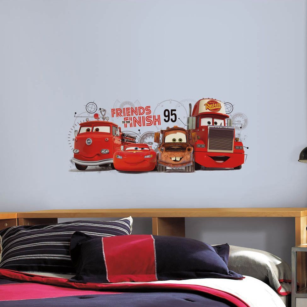 Roommates Cars Friends To The Finish Peel And Stick Giant Wall - Wall decals carsracing car wall decal ideas for the kids pinterest wall