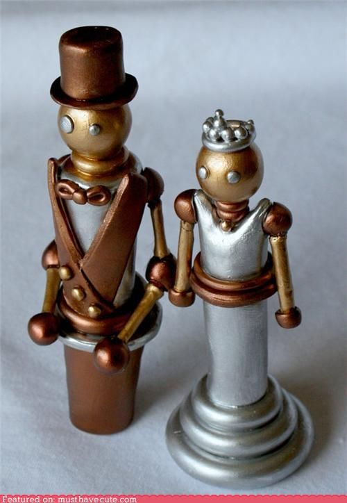 awesome wedding cake toppers. Love the Chess-Steam Punk look