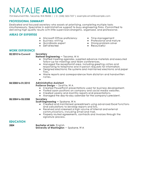 Resume Examples Secretary Resume Templates Good Resume Examples Resume Examples Free Resume Examples