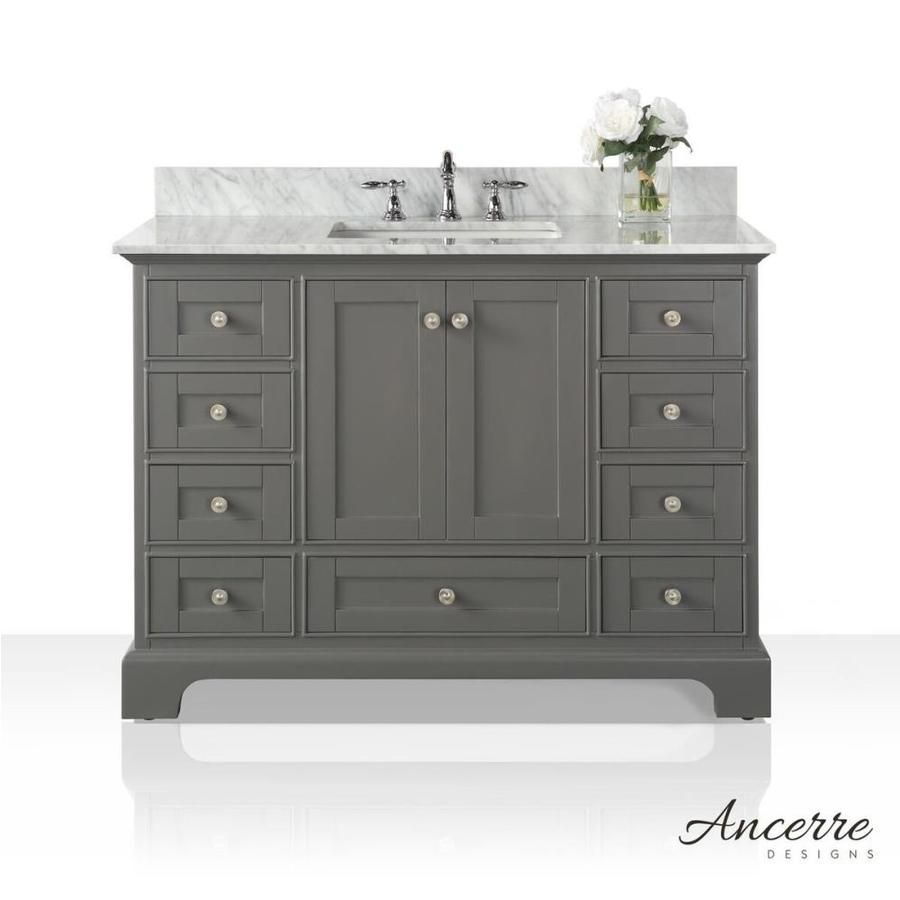 Ancerre Designs Audrey 48 In Sapphire Gray Undermount Single Sink Bathroom Vanity With Carrara White Natural Marble Top Lowes Com Marble Vanity Tops Single Sink Bathroom Vanity Vanity