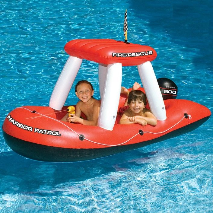 Swimline Fire Boat Inflatable Pool Squirter Hot Tubs