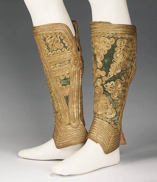 Ensemble (image 6 - Gaiters) | Albanian | 1900-10 | silk, wool, metal; damask lining; coral beading | Brooklyn Museum Costume Collection at The Metropolitan Museum of Art | Accession Number: 2009.300.650a–d