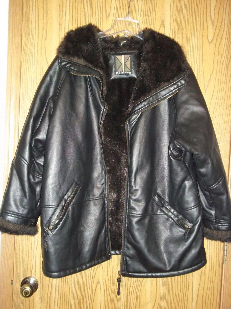 Ladies black leather jacket size 20