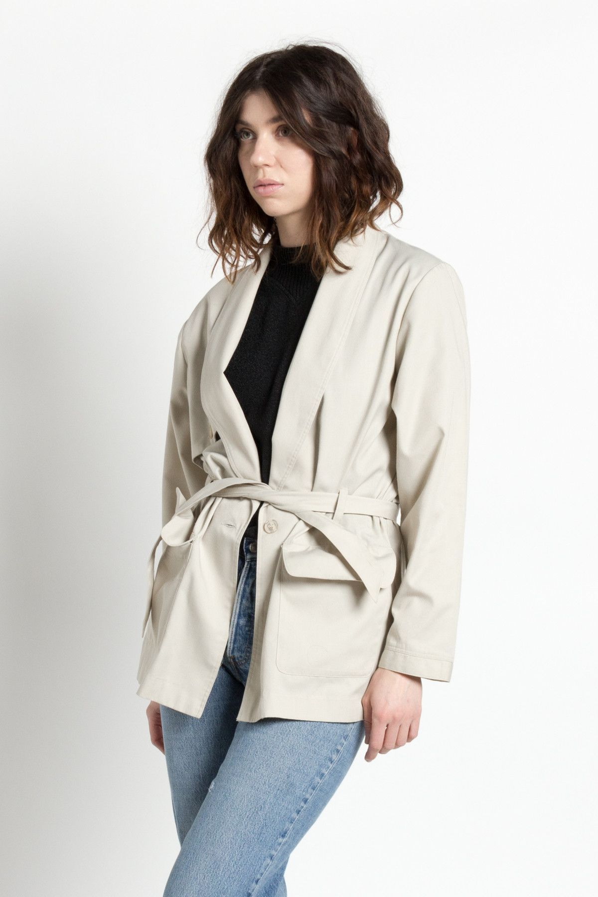 Vintage 80s Gray Oversized Short Trench Jacket | M/L