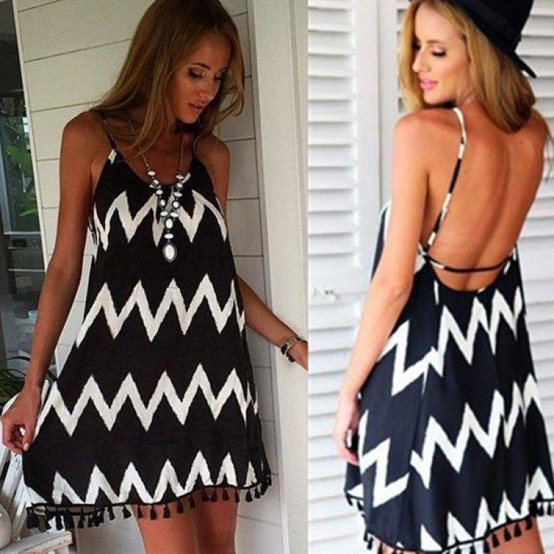Black Stripe Strap Mini DressTag your best friends. #znu#free#worldwide#shipping