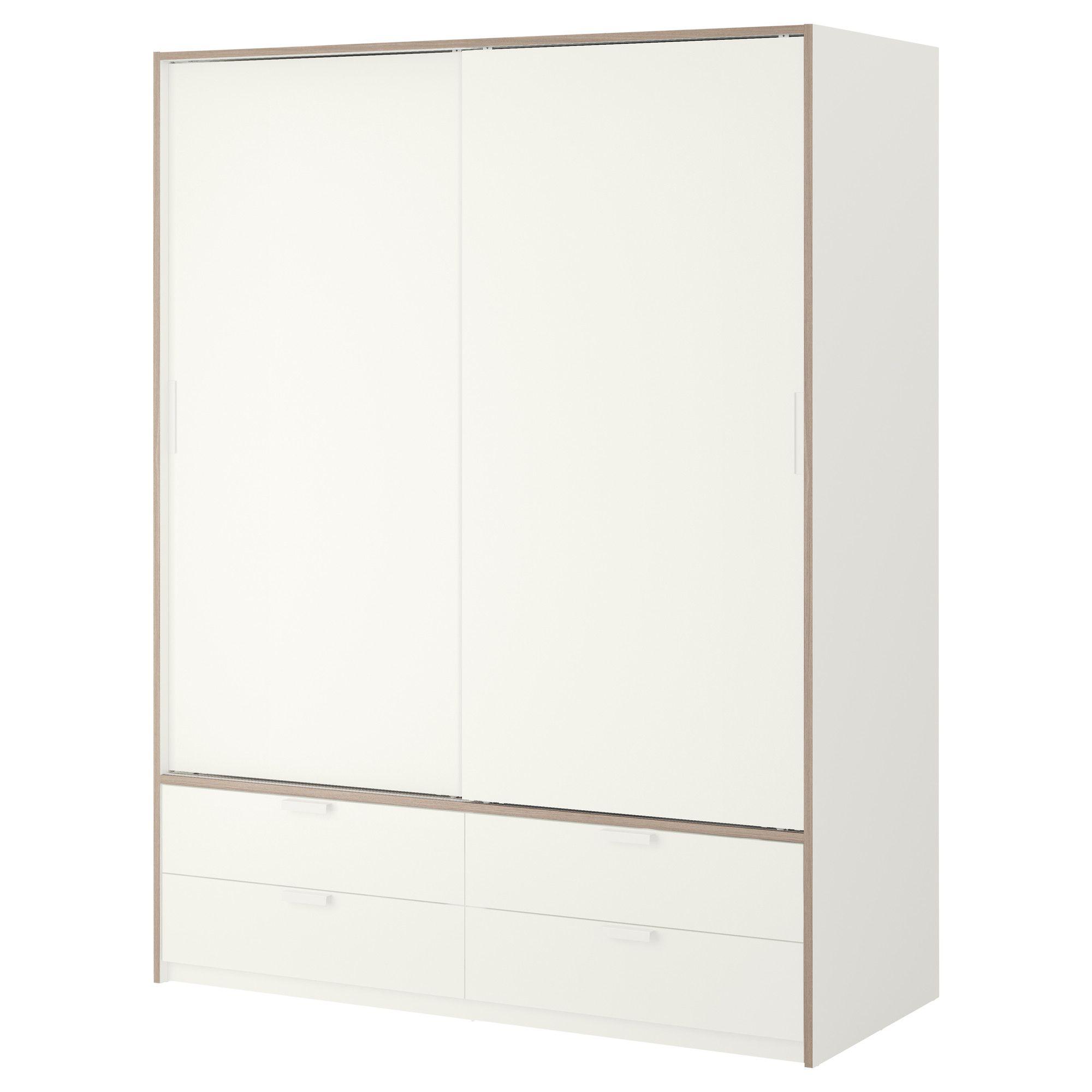 trysil wardrobe w sliding doors 4 drawers white light. Black Bedroom Furniture Sets. Home Design Ideas