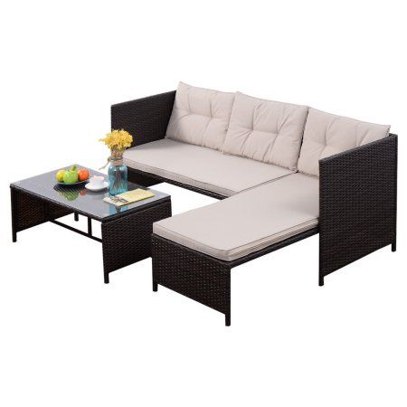 Costway 3 PCS Outdoor Rattan Furniture Sofa Set Lounge Chaise