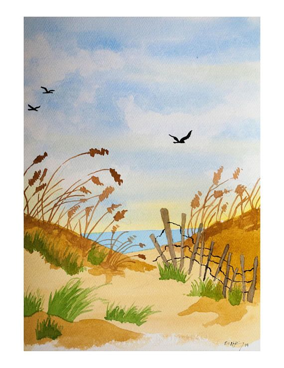 Original Watercolor Painting Cape May Beach 11x15 Inches
