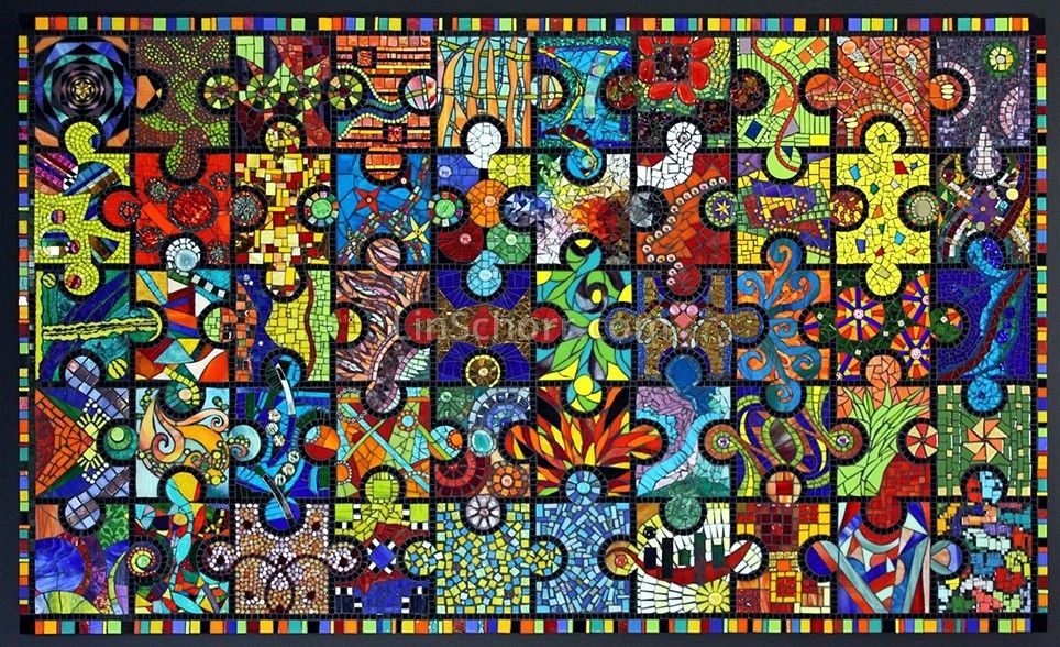 Amuzapalooza - glass art mural  mural collaborative series created by a global  group of mosaic artists including Lin Schorr and  being donated to:  Providence Park Hospital  Novi, Michigan.