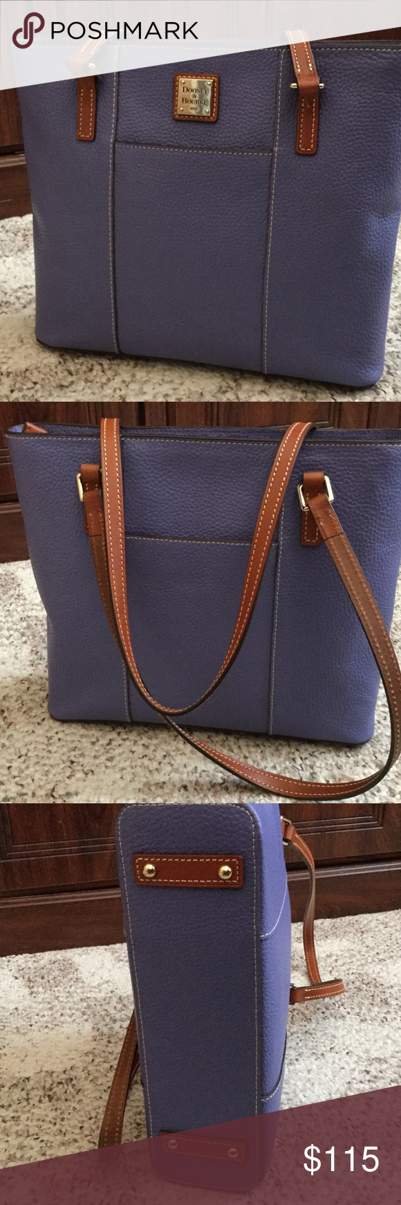 """Dooney Lexington shopper Pebble leather, two inside pockets. One inside pocket. Cell phone pocket. Inside key hook. Strap drop length 11.5"""". Front and back slip pockets. Lined. Feet. Zipper closure. No marks or stains inside or out from a smoke free homei. Color is lavender Bags Shoulder Bags"""