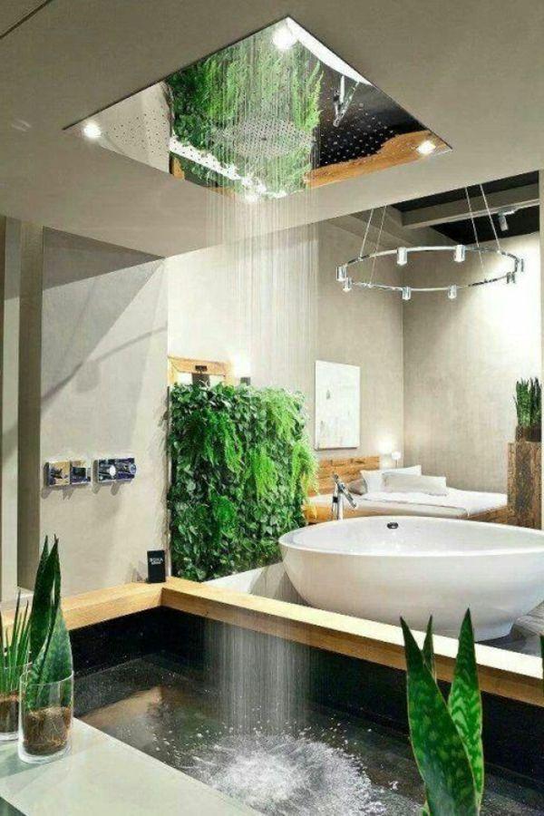 extravagantes badezimmer kreative dusche ideen grüne pflanzen, Badezimmer