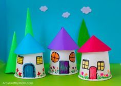 Recreate your childhood memories with this Paper Cup Miniature Village craft - Fun, Frugal and so easy to make a town paper display with young kids.