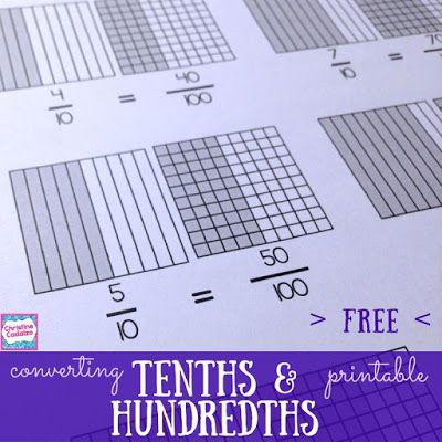 Free Converting Tenths To Hundredths Printable Classroom Freebies Teaching Decimals Teaching Fractions Math Decimals Add tenths and hundredths worksheets
